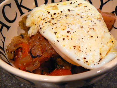 Braised with an egg on top